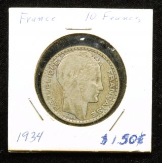 France 10 Francs 1934 Coin; 68 Silver photo