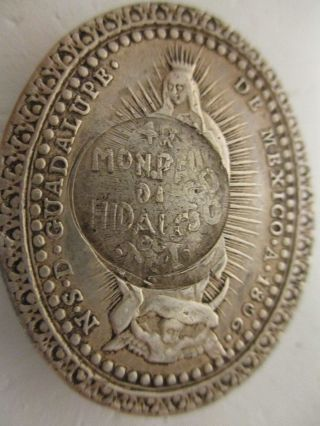 Very Rare 1810 Hidalgo C/s 4 Reales On Silver 1806 Medal photo