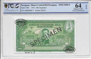 Paraguay / Banco Central Del Paraguay - 100 Guaranies,  1952.  Spec.  Pcgs 64opq. photo