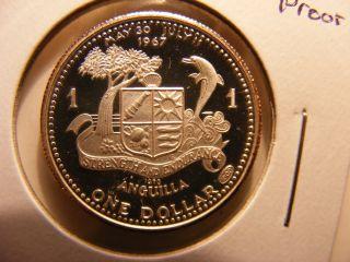 Anguilla Dollar,  1970,  Silver Proof,  Scarce Issue photo
