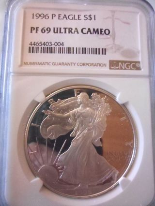 1996 P American Silver Eagle Ase Ngc Pf69ucam Proof 69 Ultra Cameo A Rare Beauty photo
