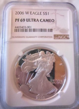 2006 W American Silver Eagle Ase Ngc Pf69ucam Proof 69 Ultra Cameo 20th Anniv photo