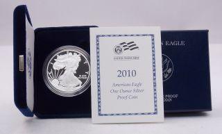2010 W Silver American Eagle 1 Oz.  999 Proof Coin W/ Box & photo