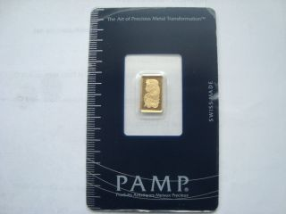 Pamp Swiss Made 1g Fine Gold 999.  9 With Certificate Number photo