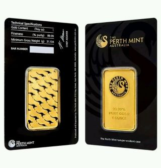Perth Australia 1 Oz.  9999 Gold Bar - In Tamper - Evident Case photo