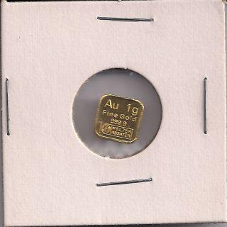 Argor Heraeus 1 Gram 999.  9 Fine Gold Bar photo
