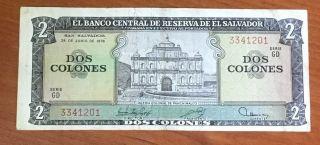 El Salvador Banknote Of 2 Colones - 1976 - Serie Gd - Circulated photo
