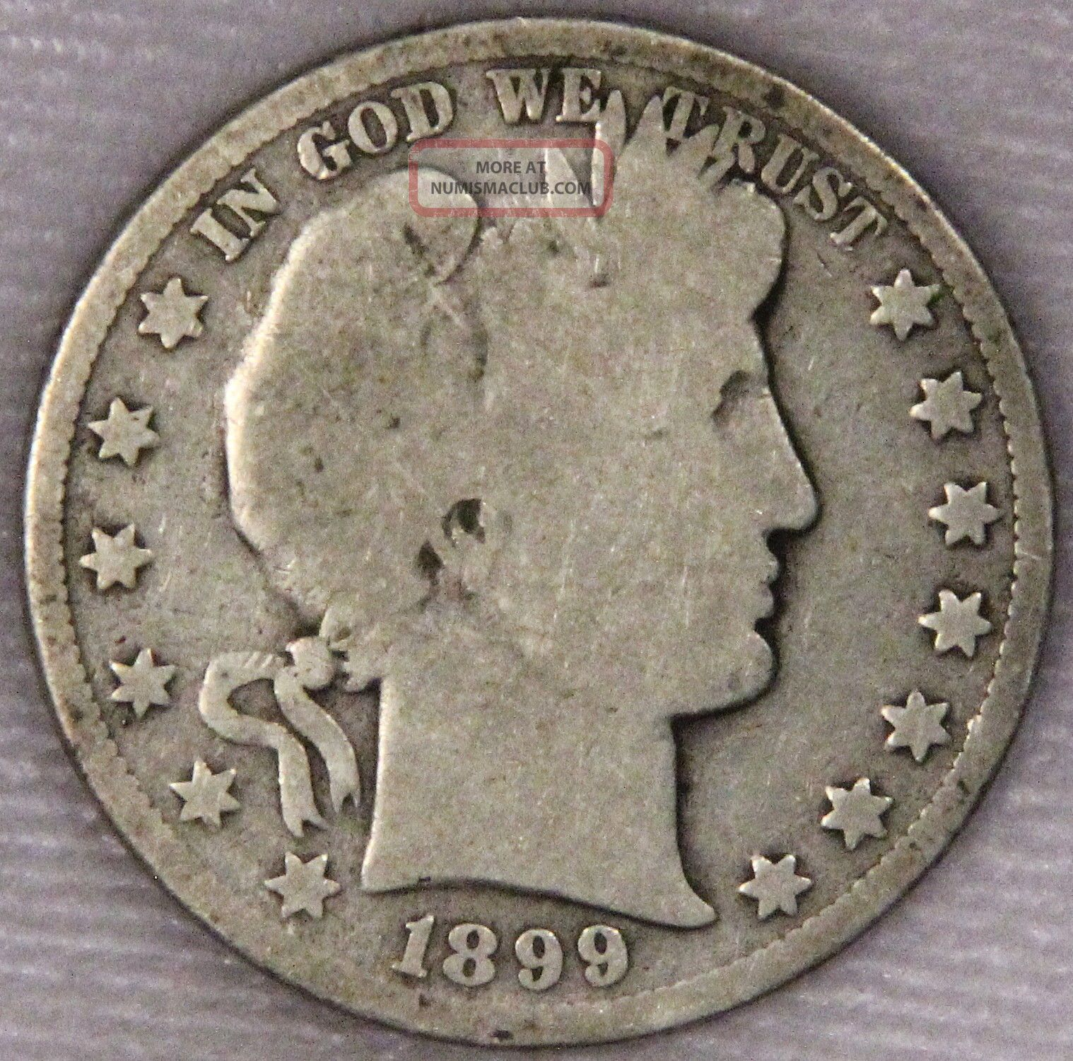 1899 Barber Half Dollar Grade Ag/g As Pictured Inv 340 Half Dollars photo