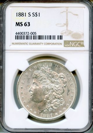 1881 - S Morgan Silver Dollar Ngc Ms63 $1 (4400372 - 005) photo