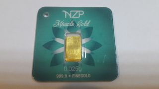 World Smallest Miracle Gold 1 X 0.  025 Gram Gold Bar 999,  9 Nzp Gold Collectable photo