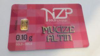1 X 0.  10 Gram Gold Bar 24 Karat 995,  0 Nzp Gold Int.  Sertificated Credit Card photo