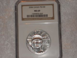Platinum 2006 (p) American Eagle 1oz Ngc Ms 69 $100 Rare Coin photo