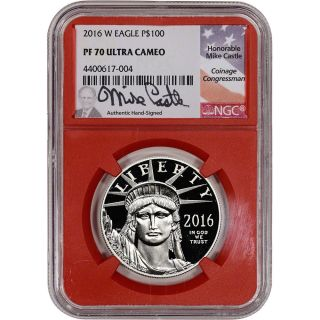 2016 - W American Platinum Eagle Proof (1 Oz) $100 - Ngc Pf70 Ucam Red Core Castle photo
