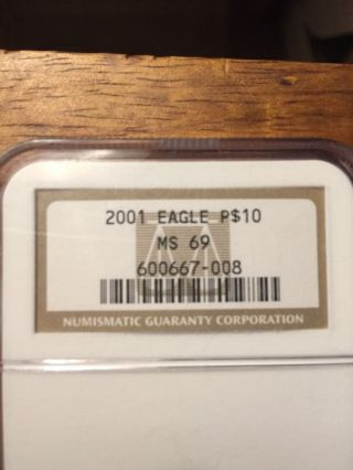 2001 Platinum $10 Eagle 1/10th Oz Ngc Ms 69 photo