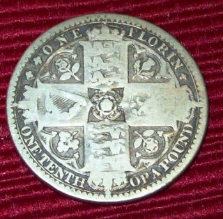 1849 Great Britain One Florin 2 Shillings.  925 Silver Coin Km 745 Rare Low photo