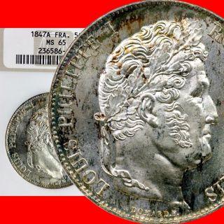 France 1847 - A 5 - Francs Gad 678a Ngc Gem Unc 65 Finest Known photo