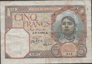 Algeria 5 Francs 27.  2.  1941 Series A.  4977 Circulated Banknote photo