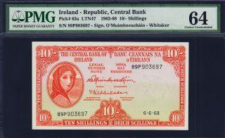 Ireland Lady Lavery 10 Shillings 1968 Pick - 63a Choice Unc Pmg 64 photo