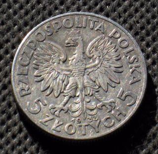Old Silver Coin Of Poland 5 Zloty 1933 Jadwiga Second Republic Ag (d) photo