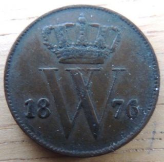Netherlands 1876 Very Fine 1 Cent Km 100 Great Coin photo