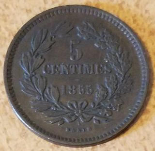 1855 A Luxembourg 5 Centimes Bronze Coin Vf photo