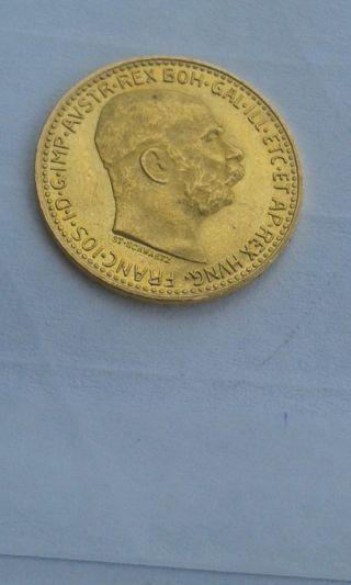 Austria 1912 10 Corona Gold Franz Josef I Emperor photo