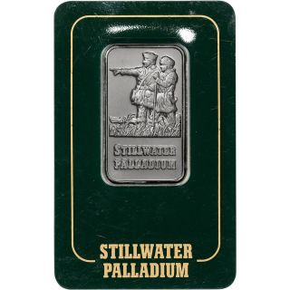 1 Oz.  Palladium Bar - Johnson Matthey Stillwater - 999.  5 Fine In Vintage Assay photo