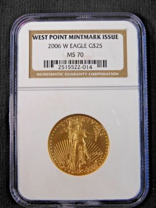2006 - W Burnished $25 1/2 Ounce Gold American Eagle Ngc Ms70 photo