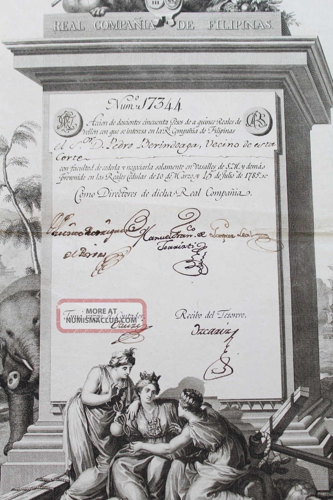 1785 Spanish Share - Philippines Royal Company - Real CompaÑia De Filipinas World photo