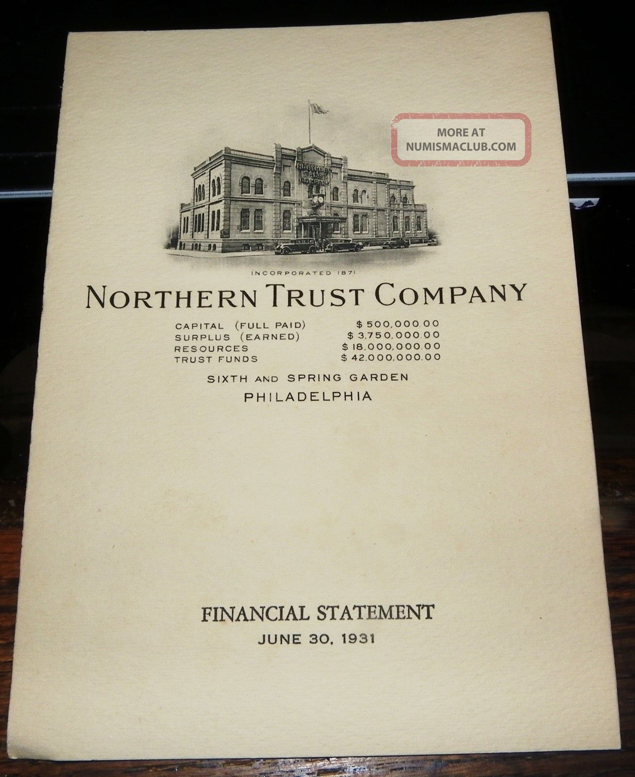 Philadelphia 1931 Northern Bank & Trust Co Financial Statement Stocks & Bonds, Scripophily photo