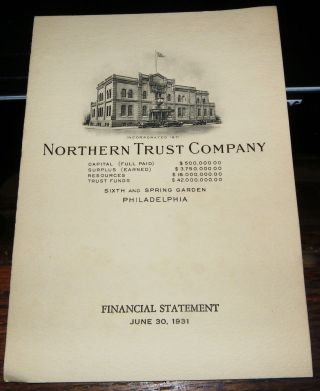 Philadelphia 1931 Northern Bank & Trust Co Financial Statement photo