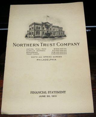 Philadelphia 1931 Northern Bank & Trust Co Financial Statement photo