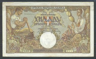 Serbia 1000 Dinara 1942 P 32a - Watermark: King Petar - X Rare photo