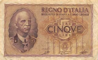 Italy 5 Lire 18.  1940 P 28 Series 0239 Ww Ii Issue Circulated Banknote photo