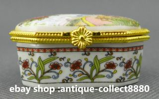 49mm China Colors Porcelain 2 Woman Flower Butterfly Vogue Jewelry Box photo