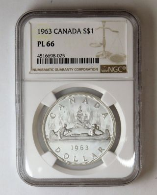 1963 S$1 Canada Silver Dollar Ngc Pl 66 photo