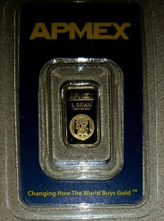 Apmex 1g Gold Bar.  9999 Fine (in Assay/tamper - Evident Pkg) photo