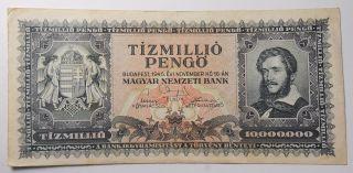 1945 Budapest Hungary Tizmillio (10,  000,  000) Pengo Banknote photo
