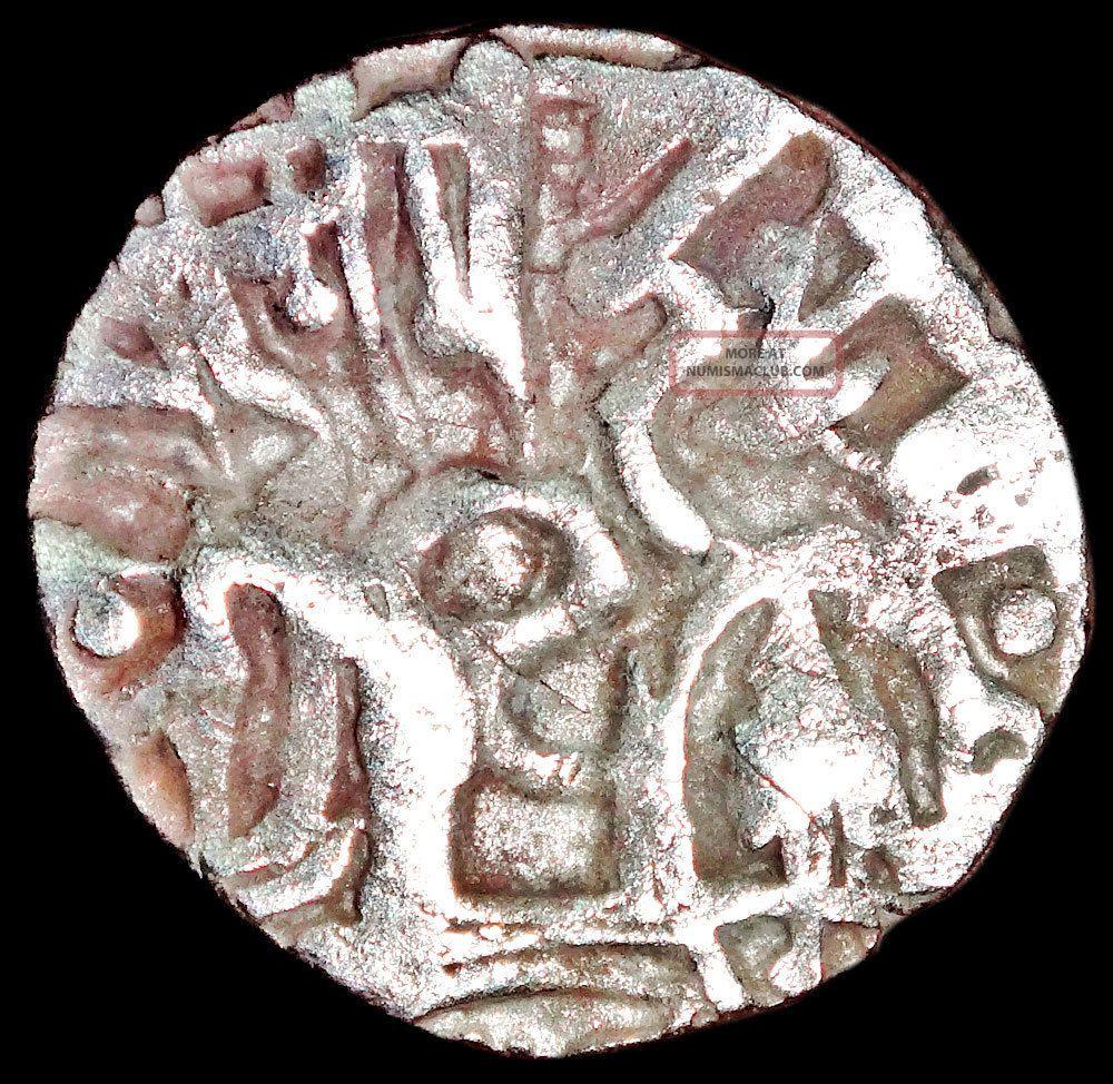 Ancient - Hindu Shahi - Samanta Deva - Horse & Sacred Cow (850 - 1000) Silver Mb34 India photo