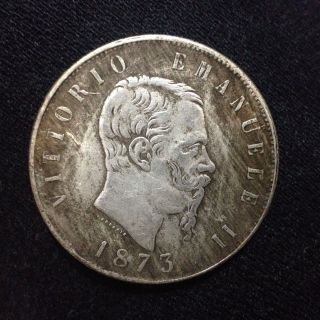Vittorio Emanuele 1873 Regno D Italia Coin photo