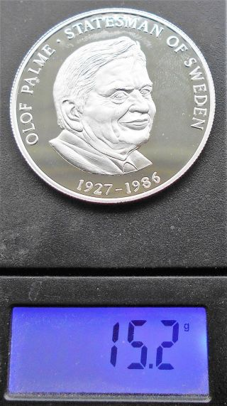 Silver 1999 Zambia 2500 Kwacha Unlisted In Krause Olaf Palme Proof 713 photo