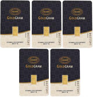 5 X 1 Gram 24 Karat Pure Fine Gold Bullion Bar 999.  9 International Certificated photo