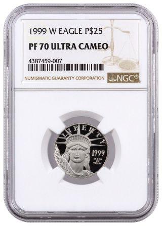 1999 - W $25 1/4 Troy Oz Proof Platinum Eagle Ngc Pf70 Uc Ultra Cameo Sku16396 photo