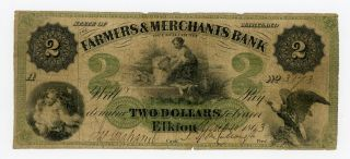 1863 $2 The Farmers & Merchants Bank Of Cecil County - Maryland Note photo