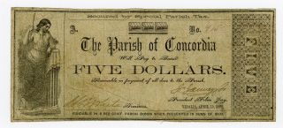1862 $5 The Parish Of Concordia - Vidalia,  Louisiana Note Civil War Era photo