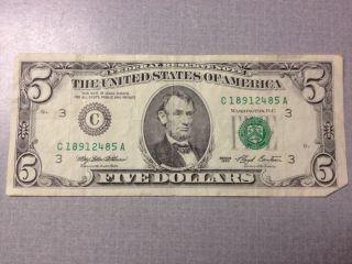 1993 Series C Philadelphia $5 Dollar Bill Federal Reserve Note Old Style photo