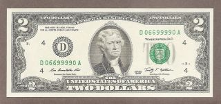 2009 - $2 Unc Fancy Liars Poker 4 - 9 ' S 06699990 Note photo