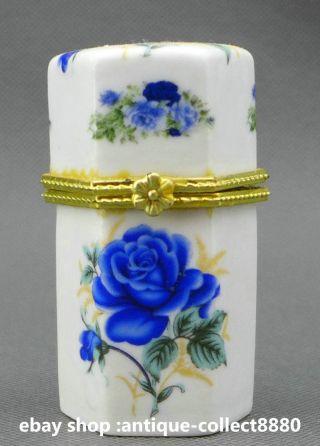 78mm Chinese Colour Porcelain Blue Flos Rosae Rugosae Leaf Fashion Toothpick Box photo