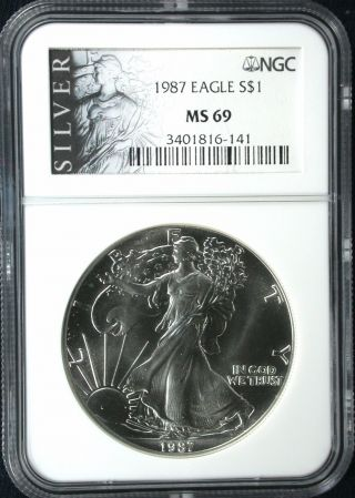 1987 S $1 Silver American Eagle Ngc Ms 69 1 Oz 99.  9 Silver Ms 69 photo