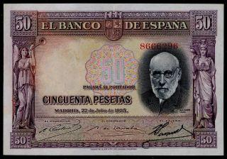Spain - EspaÑa 50 Pesetas 1935 Xf,  Pick 88 Santiago Ramon Y Cajal photo